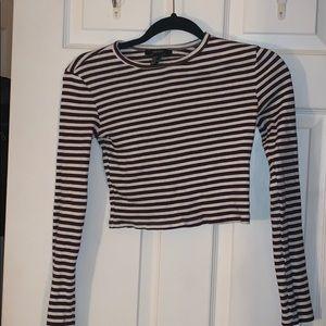 Stripe cropped long sleeve